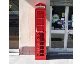 Mobile di antiquariato modello Cabina telefonica porta bottigklia in legno lattcato rosso  a prezzi outlet