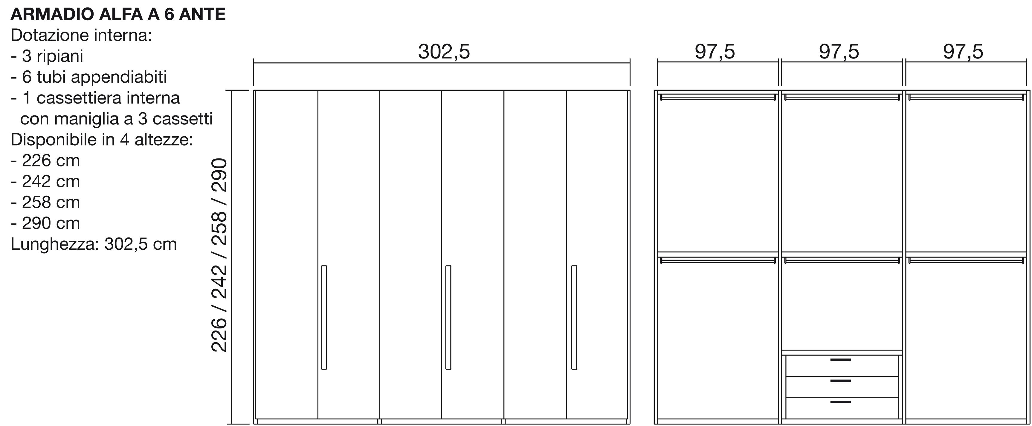 armadio alfa moderno laminato materico ante battenti - armadi a ... - Misure Armadio Camera Da Letto