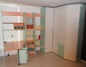 Armadio angolare, libreria e scrivania per cameretta Galli scontata