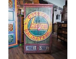 Armadio ante battenti in legno Armadio dipinto castrol industrial  pezzo unico  Outlet etnico scontato
