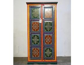 ARMADIO Armadio tibet il legno dipinto  Outlet etnico in OFFERTA OUTLET