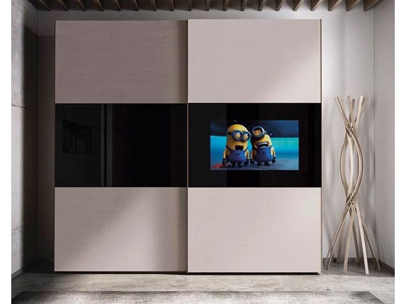 Armadio Con Porta Tv.Armadio Con Ante Scorrevoli Moderno Armadio Con Tv Samsung Integrato Artigianmobili A Prezzo Ribassato