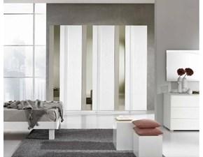 Armadio Gierre in laminato bianco frassino con specchio e vetro laccato verticale L.270