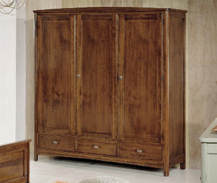 Armadio in legno massiccio tinta noce con 3 ante e 3 for Armadio a poco prezzo
