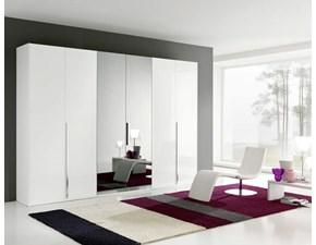 Armadio mod.Link laccato Bianco lucido con specchi centrali