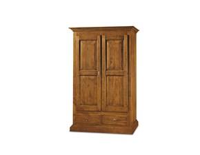armadio in legno a due ante con cassettone mobile artigianle della collezione di Mottes Mobili