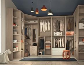 Cabina armadio angolare tre pareti in laminato materico con accessori interni ad un prezzo scontato
