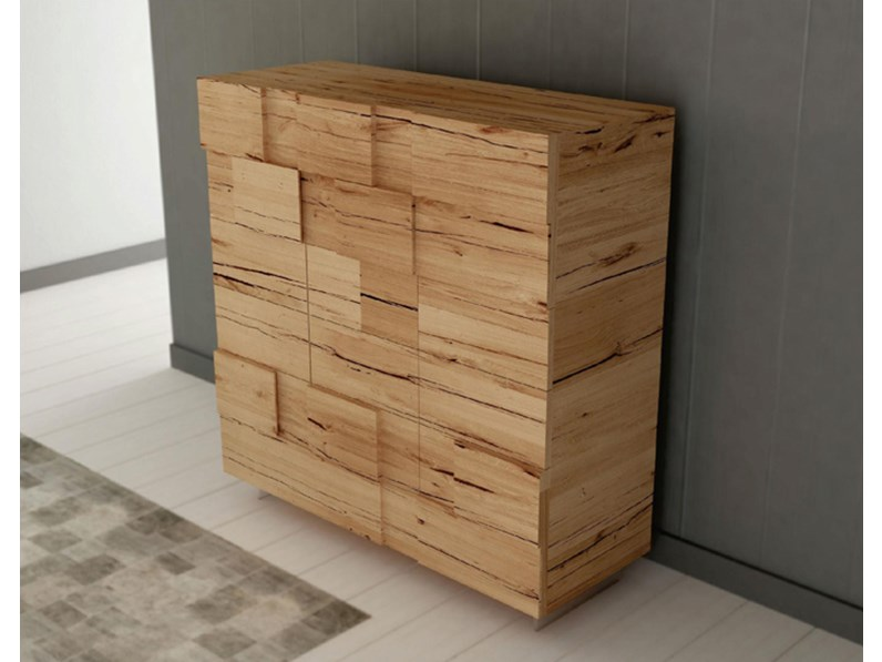 Credenza in legno massello di rovere a 3 ante e 4 cassetti sconto -50%