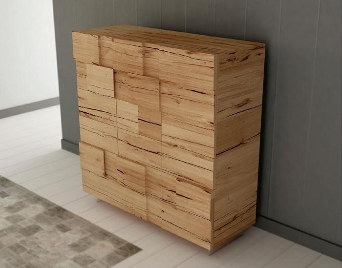 Credenza in legno massello di rovere a 3 ante e 4 cassetti sconto ...