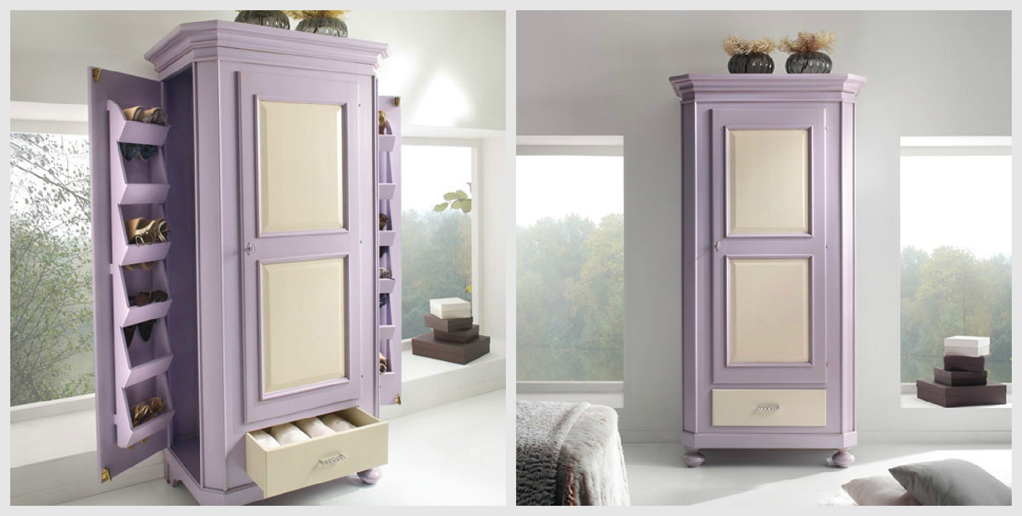 Scarpiera in legno pattinata avorio e lilla armadi a - Porte color avorio ...