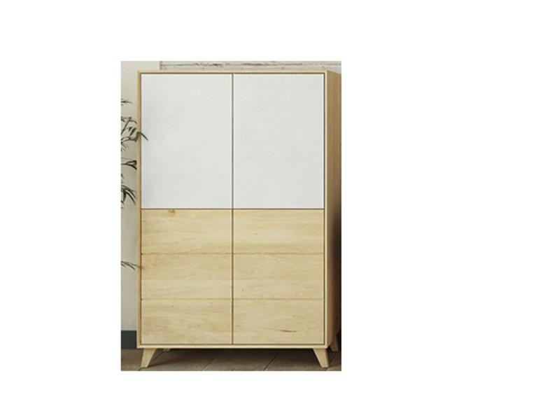 Credenza 4 ante in legno rovere massello e vetro bianco