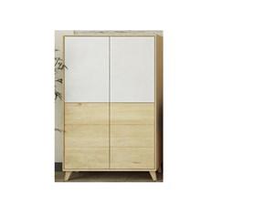 vetrinetta 4 ante legno massello rovere vetro bianco