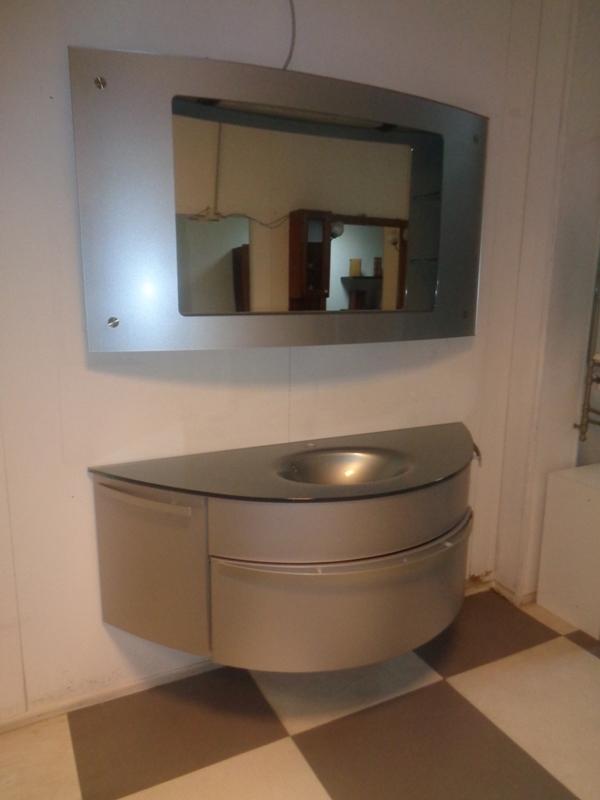 ardeco bagno calla curvo grigio metallizato con radio integrata design laccato opaco