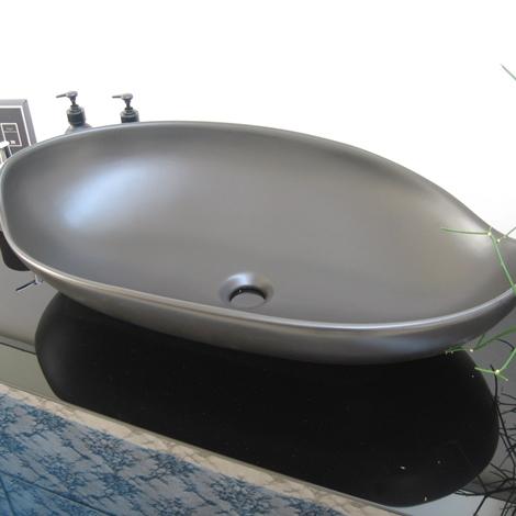 Arlex lavabo appoggio miyuki nero satinato design ceramica for Mobile bagno sospeso lavabo appoggio