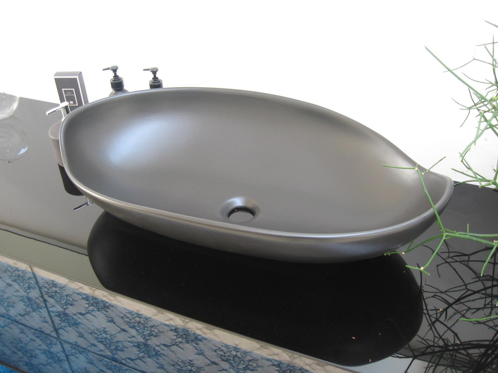 Arlex lavabo appoggio miyuki nero satinato design ceramica - Lavello bagno appoggio ...