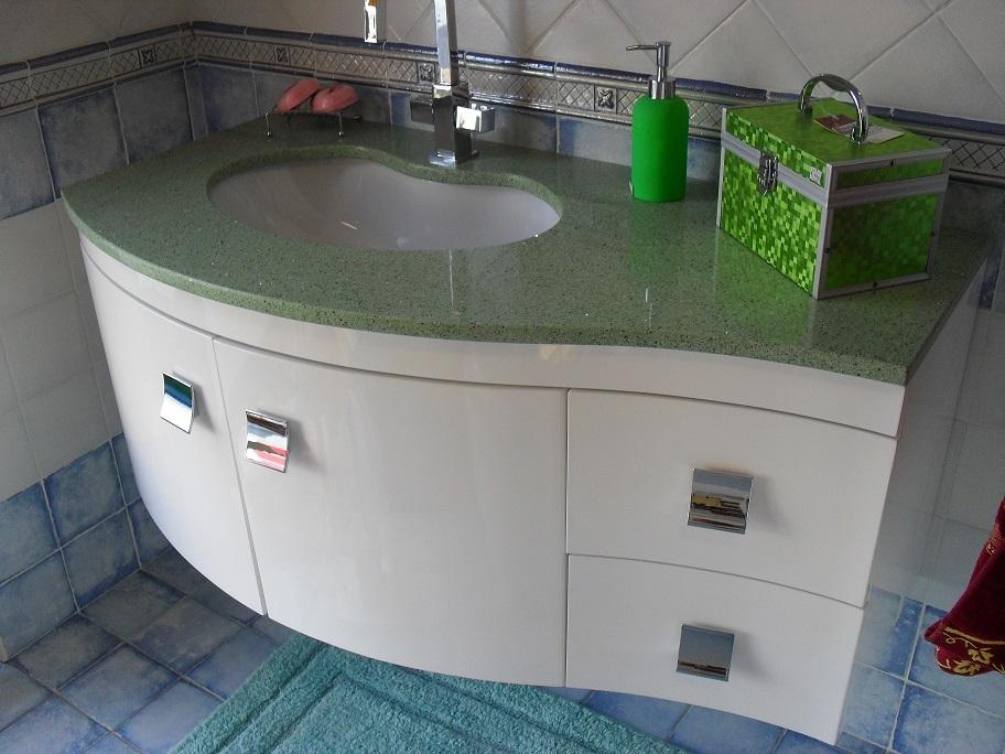mobiltesino mobile da bagno laccato bianco con top in quarzo ... - Mobiltesino Arredo Bagno