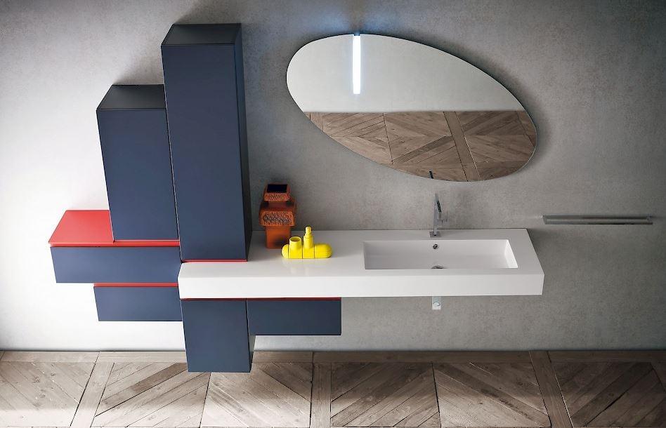 mobile per bagno laccato opaco colore jeans - arredo bagno a ... - Colori Per Bagni Moderni