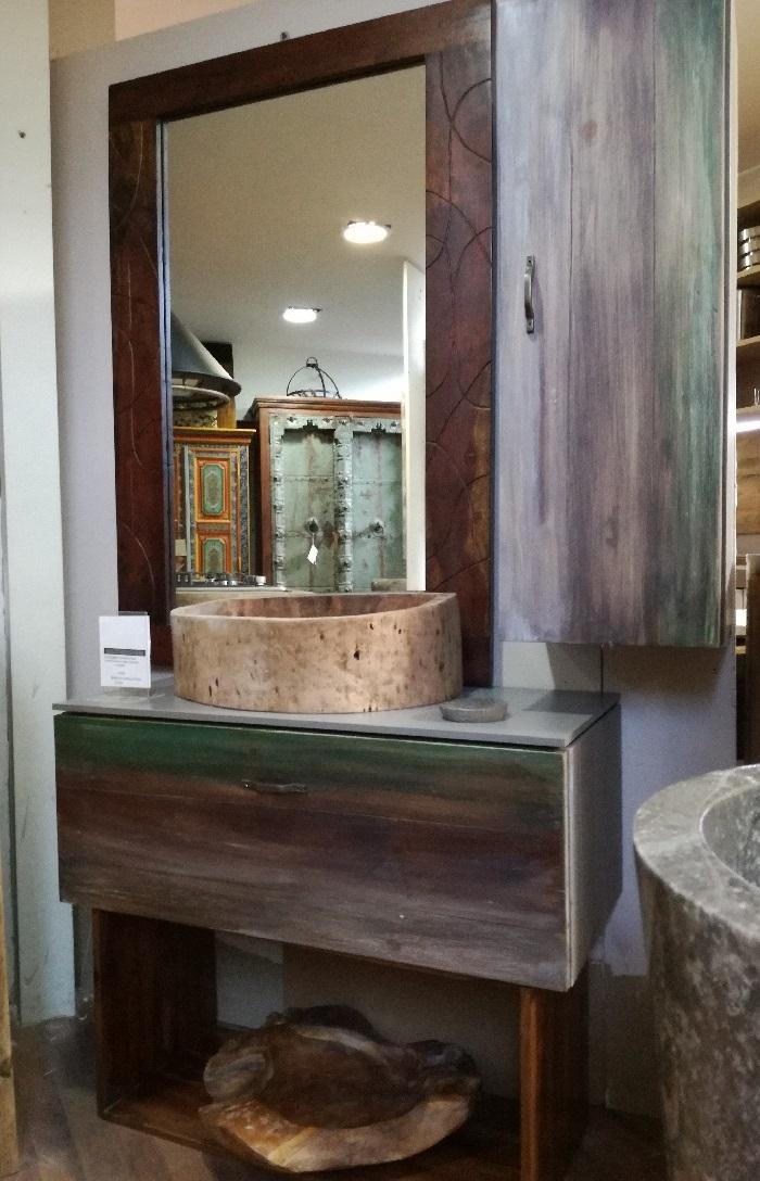 Nuovi mondi cucine mobile bagno etno chic vintage style in offerta ultimo pezzo moderno legno a - Mobile bagno moderno a terra ...