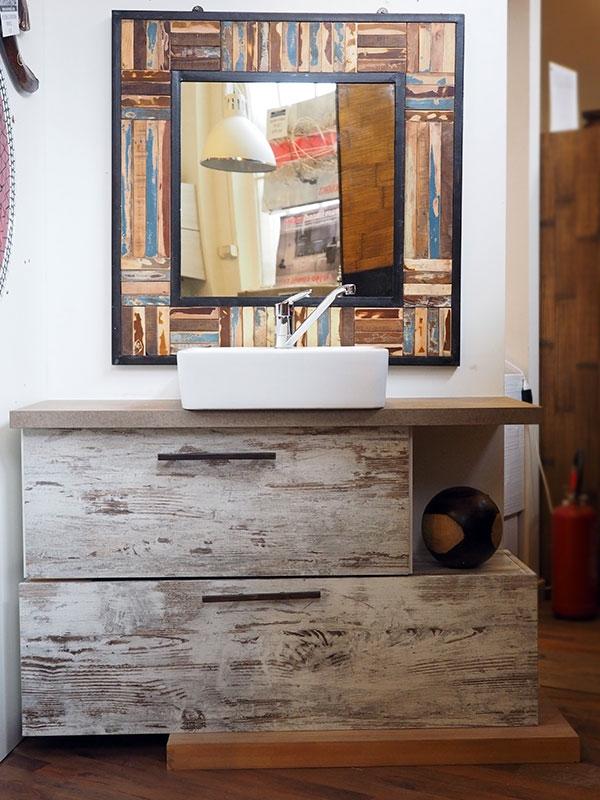 Aqualife bagno iroko white decape 39 miele cm 120x45 ante a ribalta moderno legno arredo bagno a - Arredo bagno vintage ...