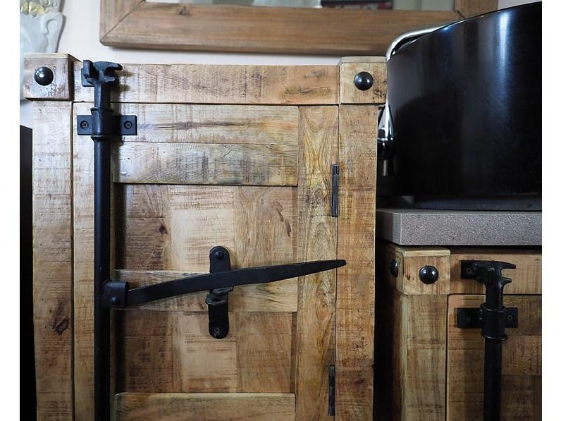 Arredamento bagno mobile outlet etnico mobile bagno legno e ferro con ruote ghisa in offerta - Arredo bagno etnico ...