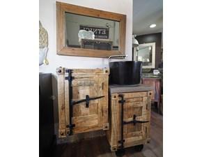 Arredamento bagno: mobile Outlet etnico Mobile bagno legno e ferro con ruote ghisa in offerta