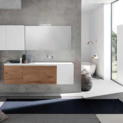 Gallery of arredo bagno con mobile sospeso in finitura legno e laccato bianco nuovo a prezzo - Costo bagno nuovo ...