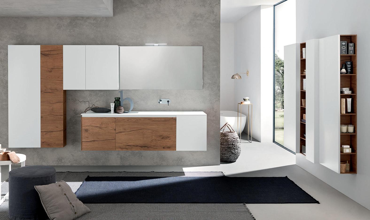 Arredo bagno con mobile sospeso in finitura legno e for Arredo bagno bianco