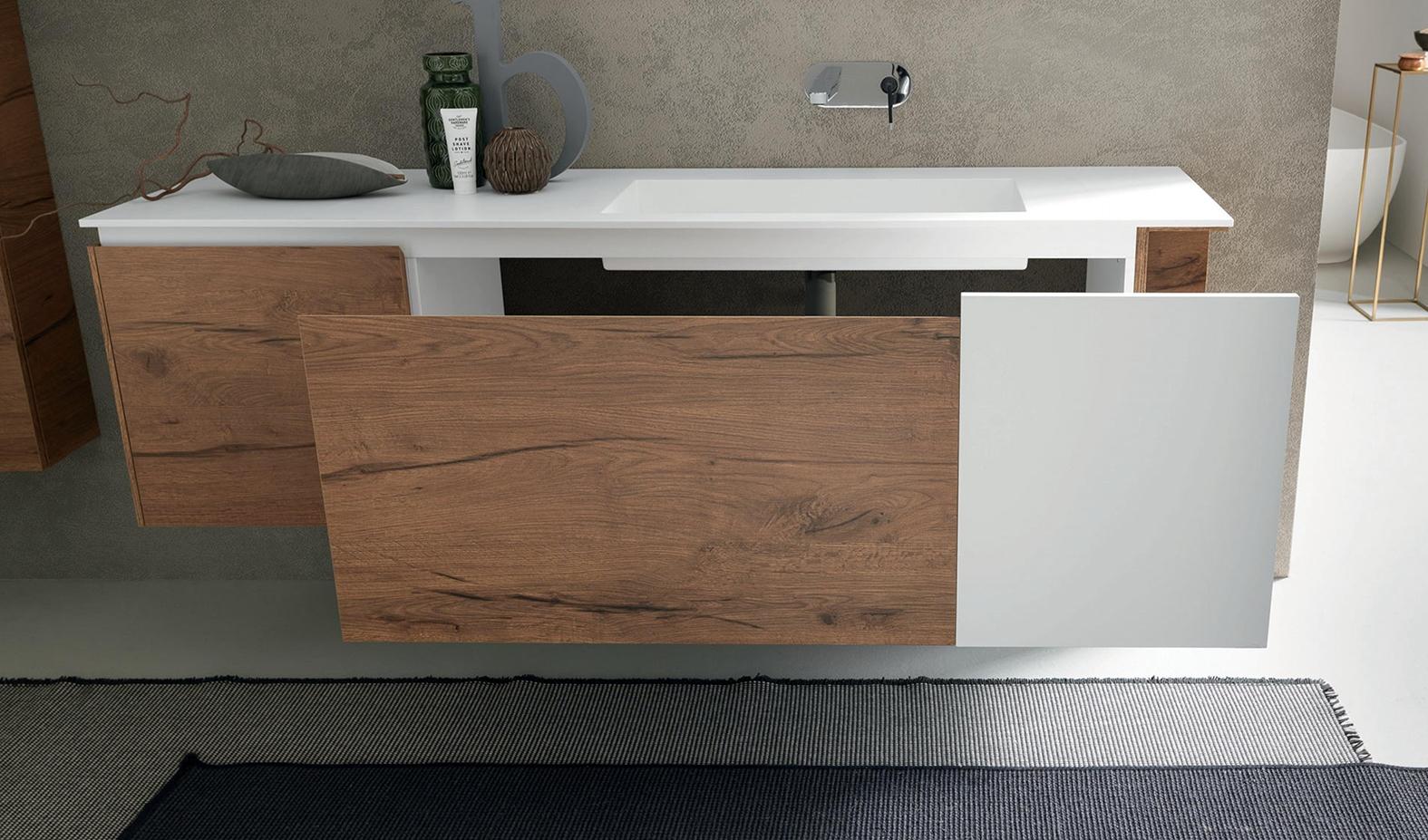 Arredo bagno con mobile sospeso in finitura legno e - Bagno nuovo prezzi ...
