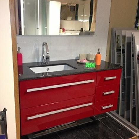 Mobiltesino Mobile da bagno laccato rosso Moderno Laccato Lucido - Arredo bagno a prezzi scontati