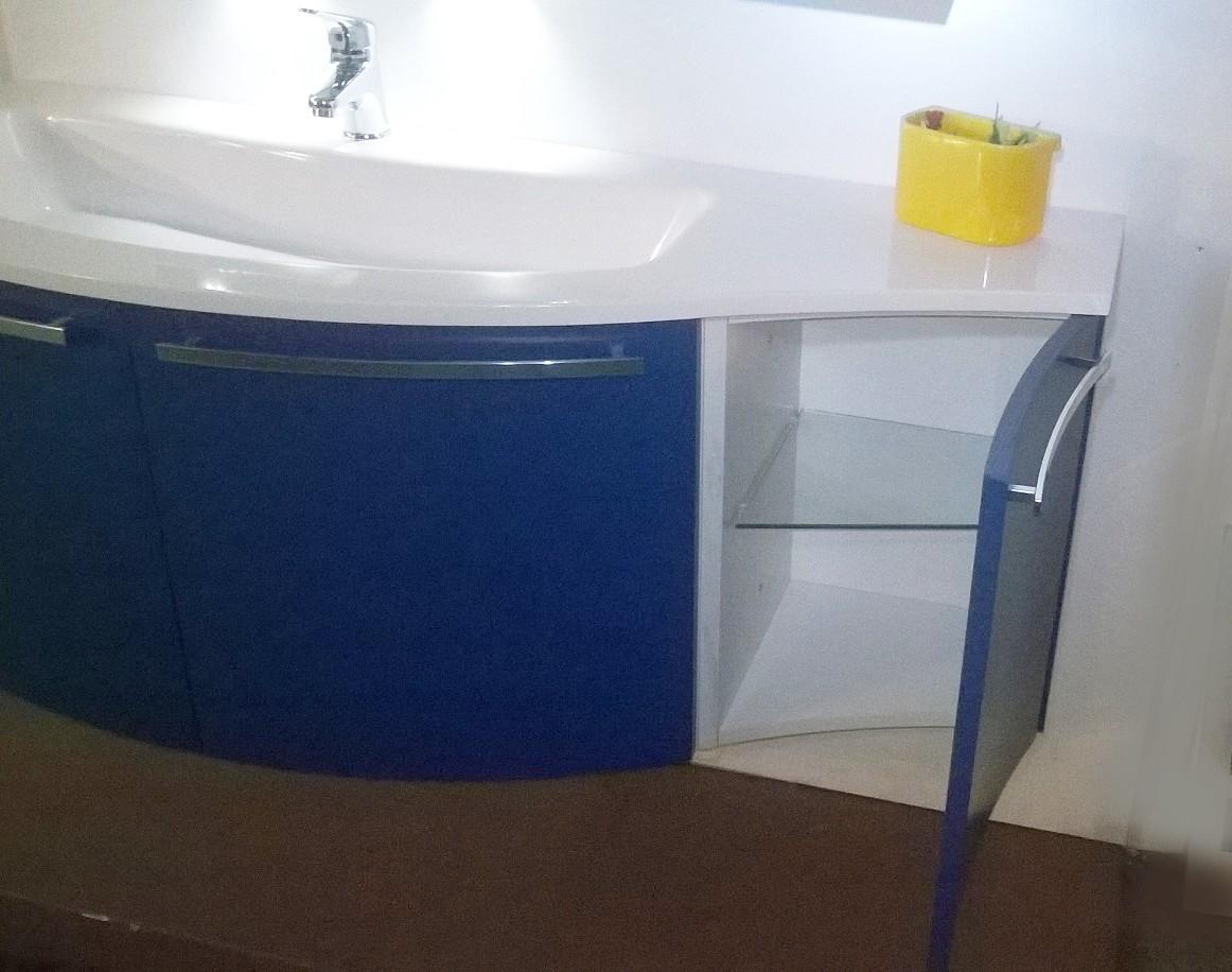 Mobile bagno sospeso arcom con basi curve in frassino for Mobile arredo bagno
