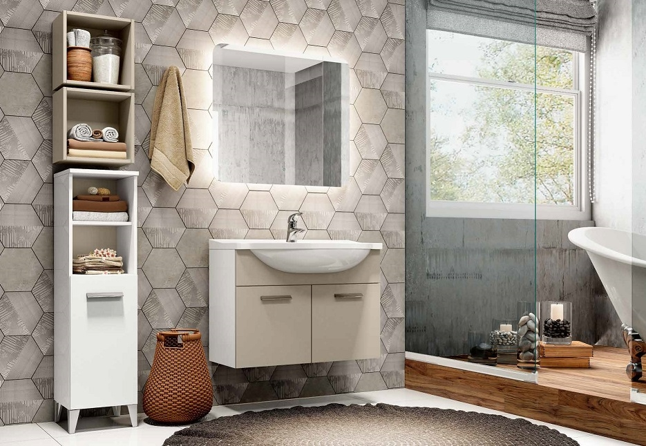 Bagno completo laccato bianco e visone fine serie arredo for Arredo bagno completo prezzi