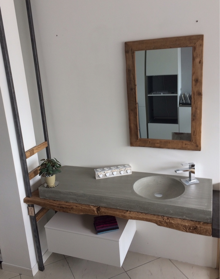 Bagno sospeso nature design top legno e lavello in for Top arredo