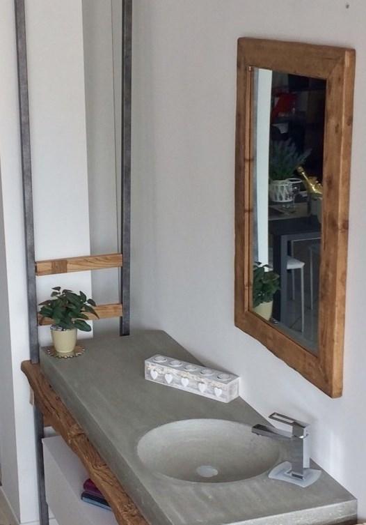 Bagno sospeso Nature Design ,Top legno e lavello in cemento - Arredo bagno a ...