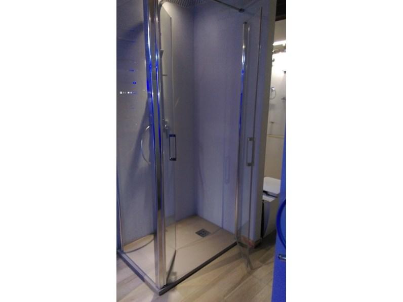Box doccia con apertura a saloon 70x100 blu bleu mobile for Mobile bagno blu