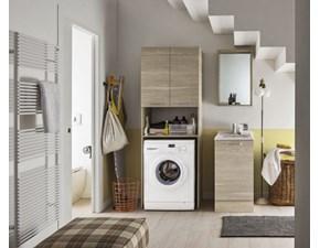 Composizione bagno 1 Arbi linea ho.me laundry.  La composizione è composta da una colonna porta lavatrice, una specchiera box e una combo.