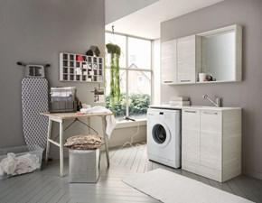 Composizione bagno 3 Arbi linea Ho.Me Laundry. Composizione composta da una specchiera box e una combo in finitura legno Story.