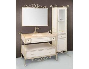Composizione bagno mobile Lipari cm120 in legno e ferro battuto anticato bianco.
