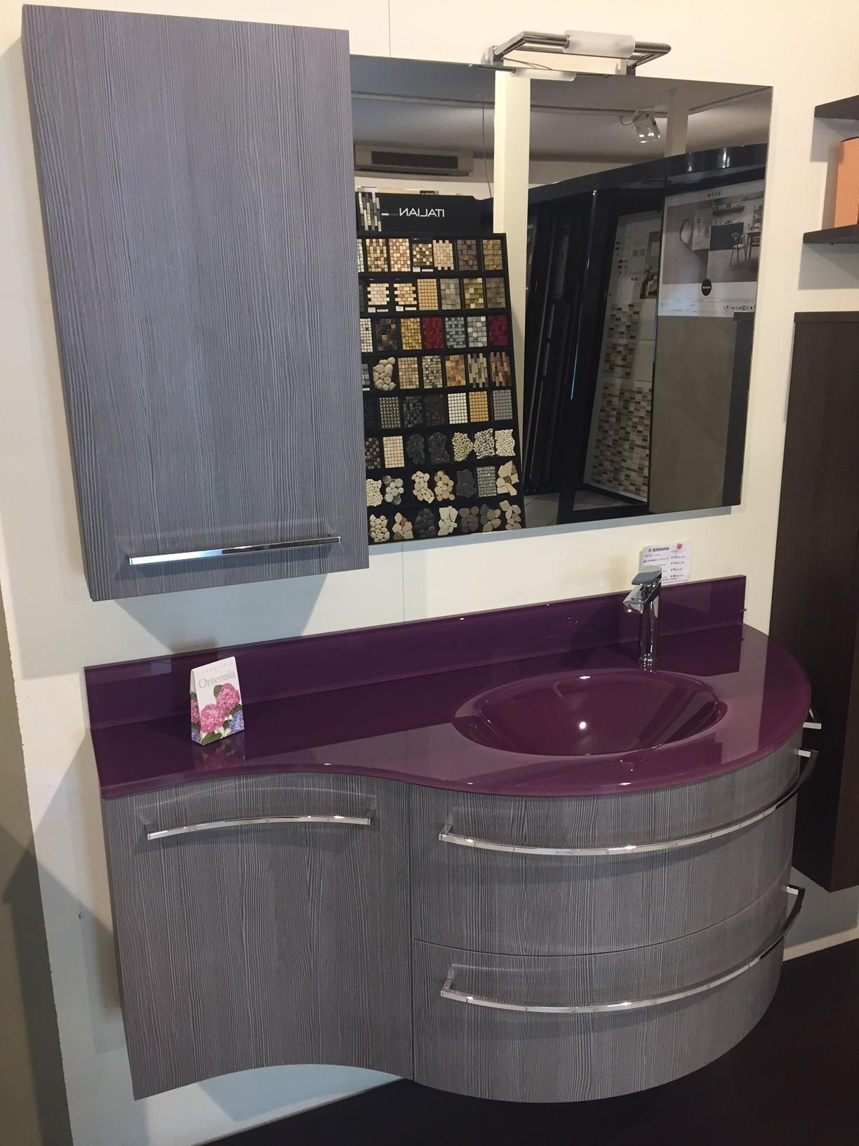 Composizione block victoria 110 cm con top e lavabo integrato in vetro lilla sconto 60 arredo - Mobilbagno ozzano ...