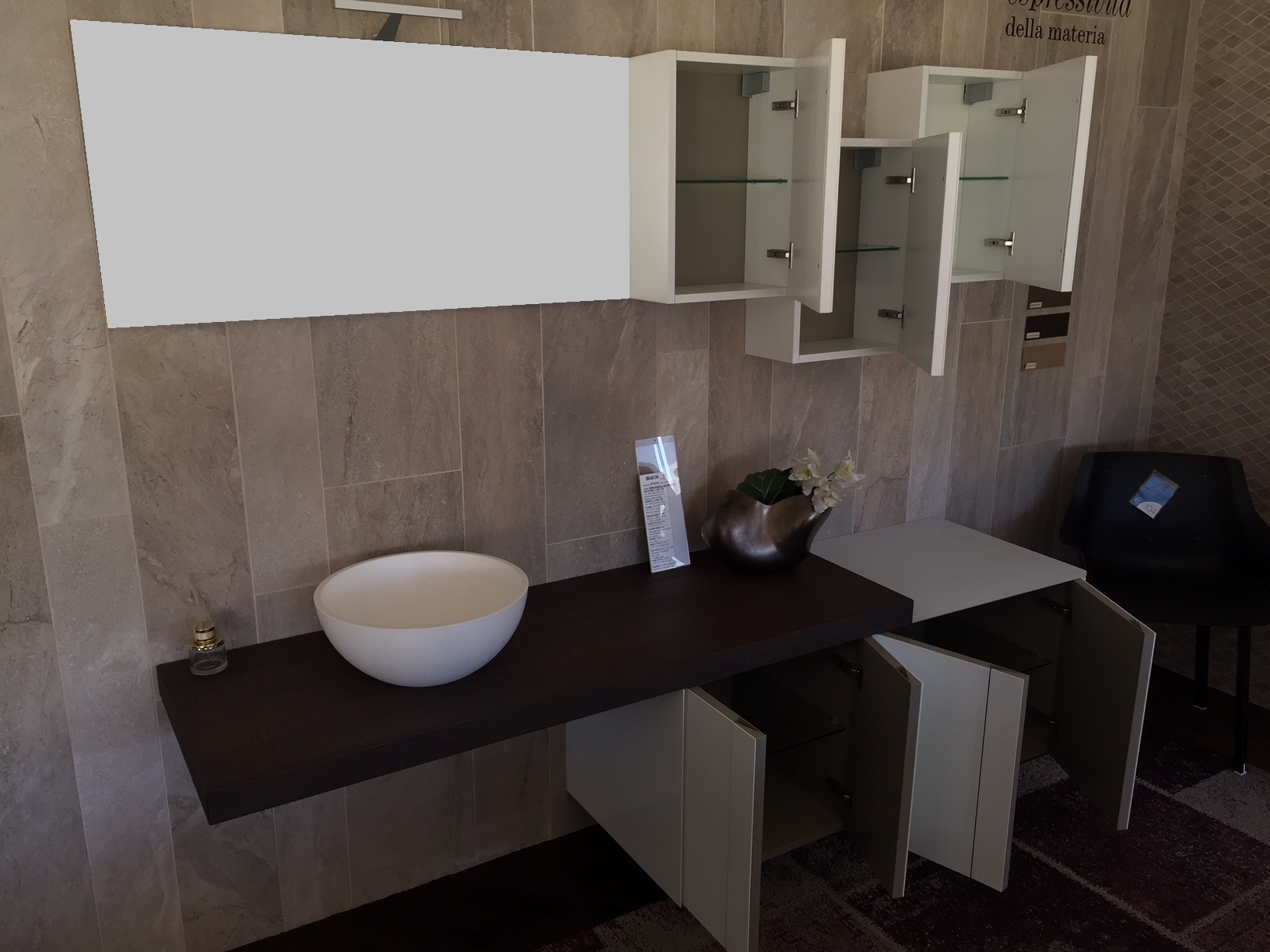 design ar spring vetro bianco e rovere moka lavabo da appoggio in resina sconto with lavabo bagno vetro