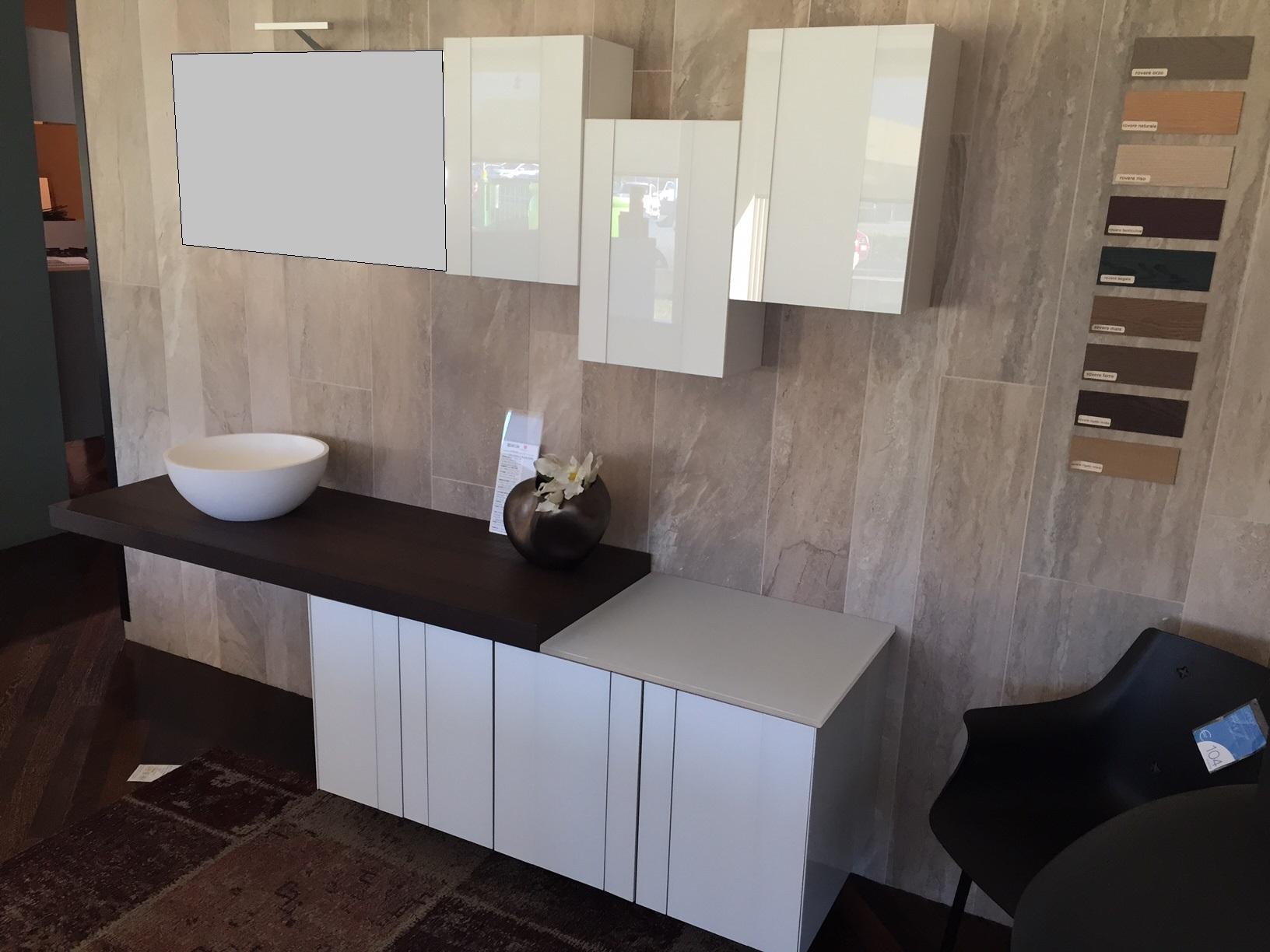 Composizione design arcom spring vetro bianco e rovere moka lavabo da appoggio in resina sconto - Mobilbagno ozzano ...