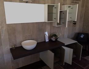 Composizione design Arcom Spring vetro bianco e rovere moka lavabo da appoggio in resina SCONTO 50%