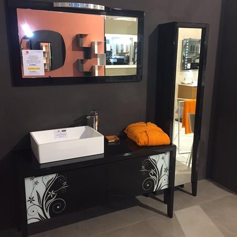 Composizione progetto bagno jet set nero lucido e vetro decorato a prezzo scontato arredo - Mobilbagno ozzano ...