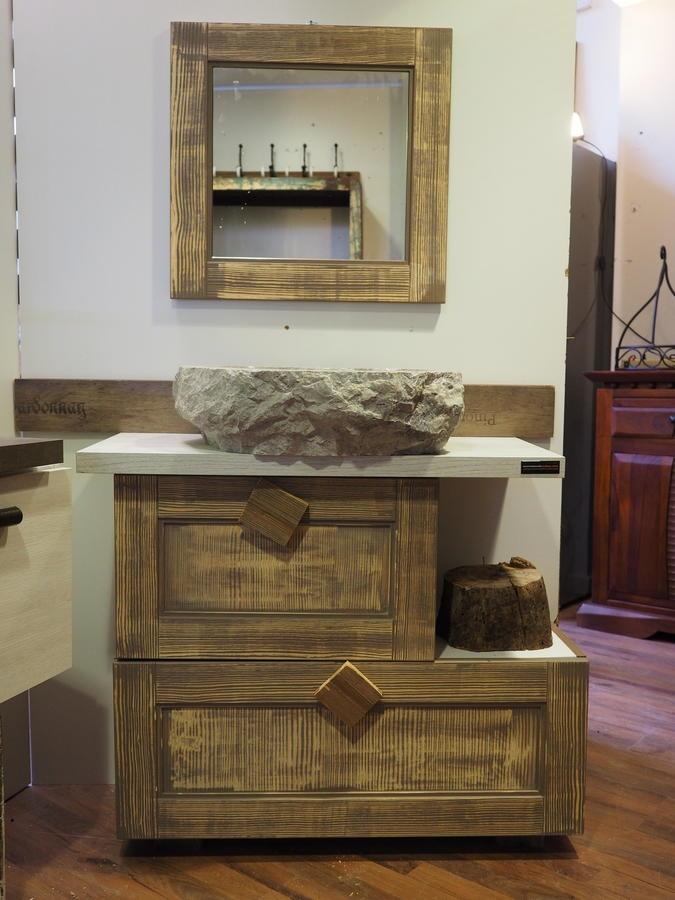 Consolle bagno etnico in legno vintage grey doppia ribalta - Mobile bagno legno grezzo ...