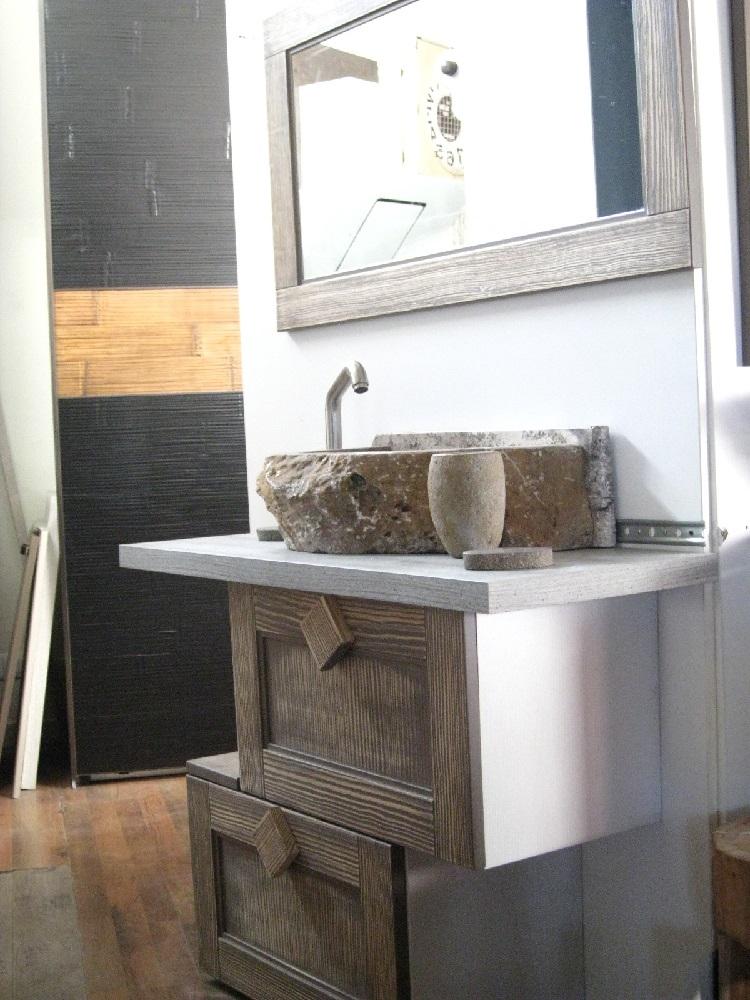 Consolle bagno etnico in legno vintage grey doppia ribalta for Consolle bagno