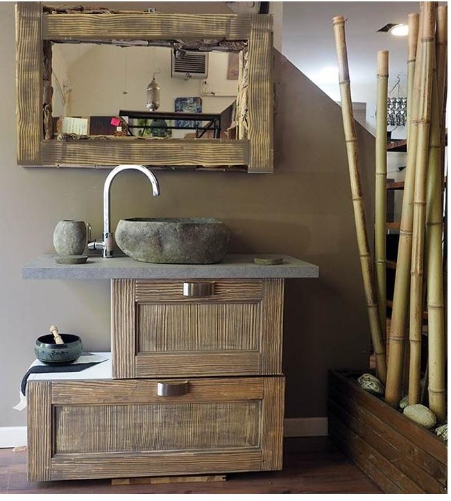 bagno etnico in legno vintage grey doppia ribalta - Arredo bagno ...