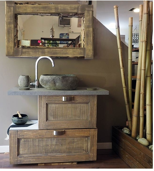 Consolle bagno etnico in legno vintage grey doppia ribalta for Mobili bagno vintage