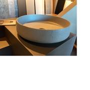 lavabo in ceramica rivestito in ecomalta oltremateria color tortora pezzo unico