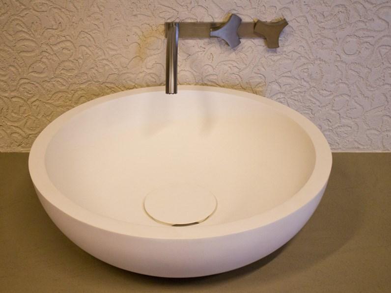 Lavabo sfera in ceramica da appoggio colore bianco satinato ...