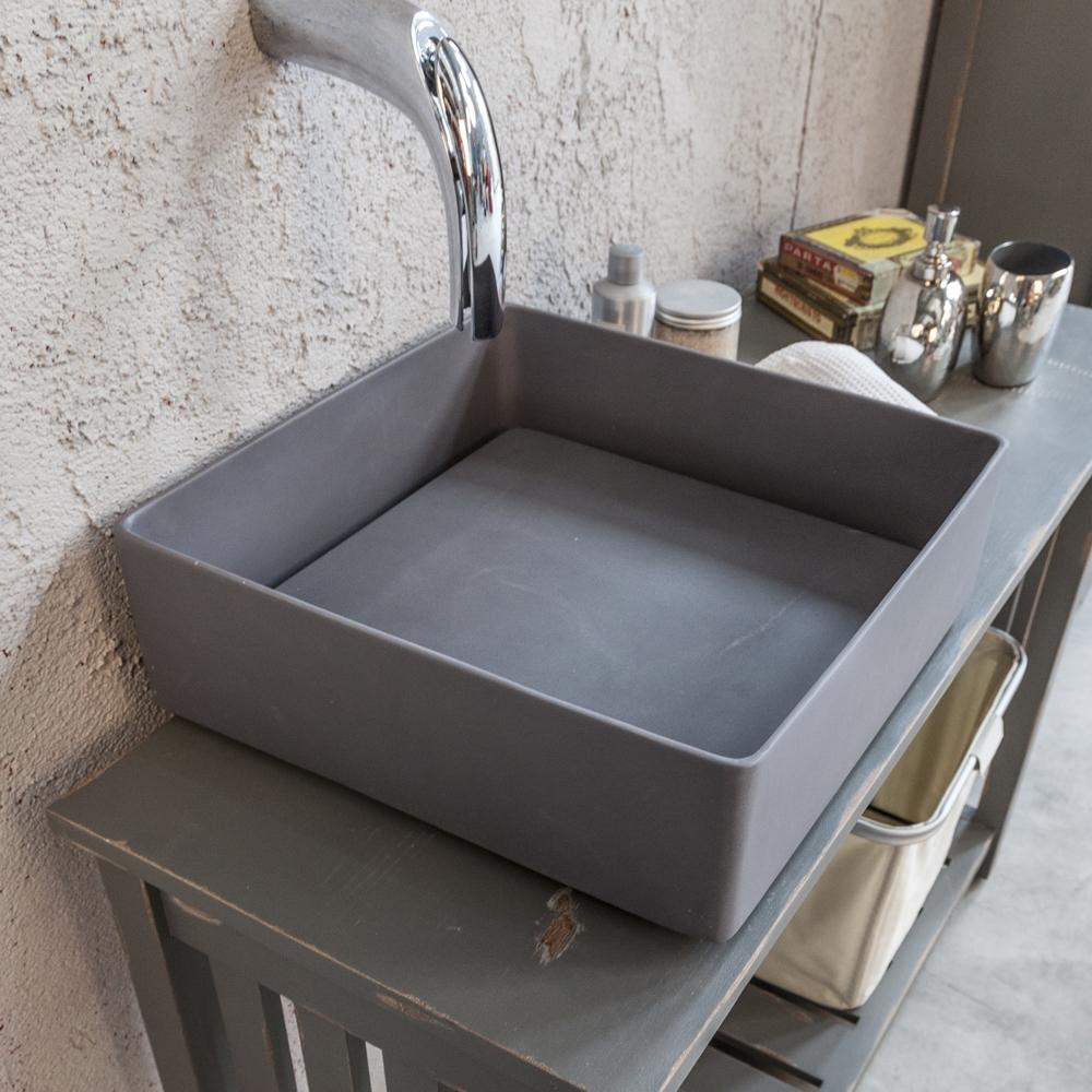 Lavandino in resina modello trabocchetto grey di cip - Lavandino da incasso bagno ...