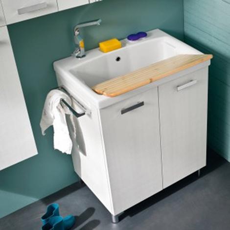 Mobile lavanderia con lavatoio a incasso in ceramica for Lavatoio per lavanderia
